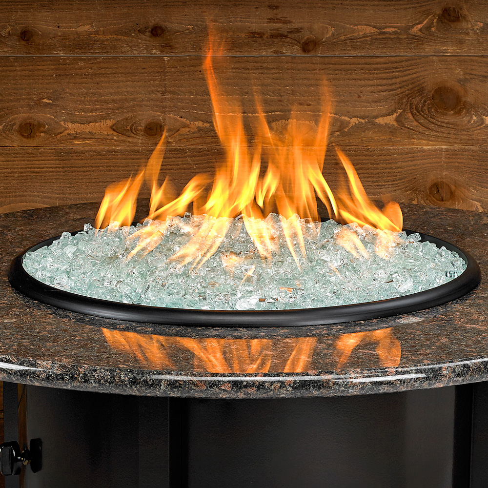 Carmel Series Outdoor Gas Fire Pit Table By American Fire Products, Round, 48-inch, Black Mahogany Granite Top