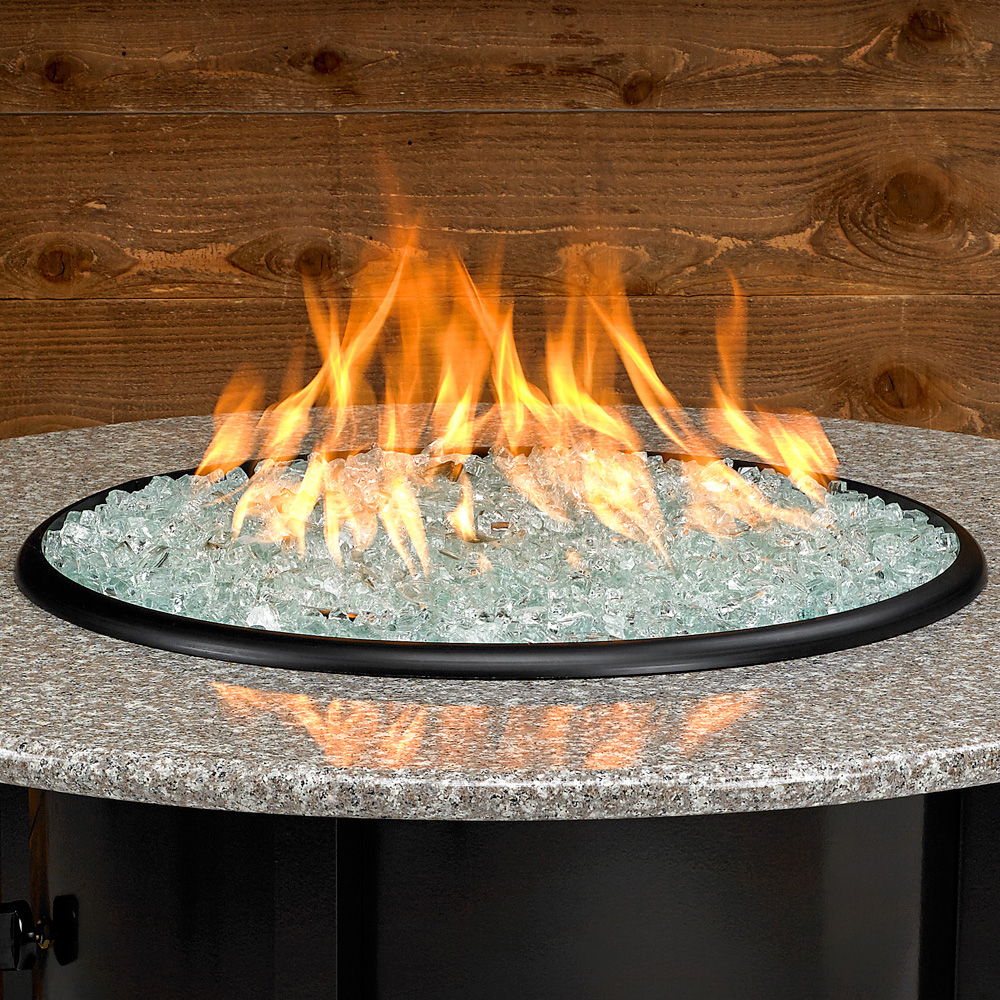 Carmel Series Outdoor Gas Fire Pit Table By American Fire Products, Round, 48-inch, Pebble Granite Top