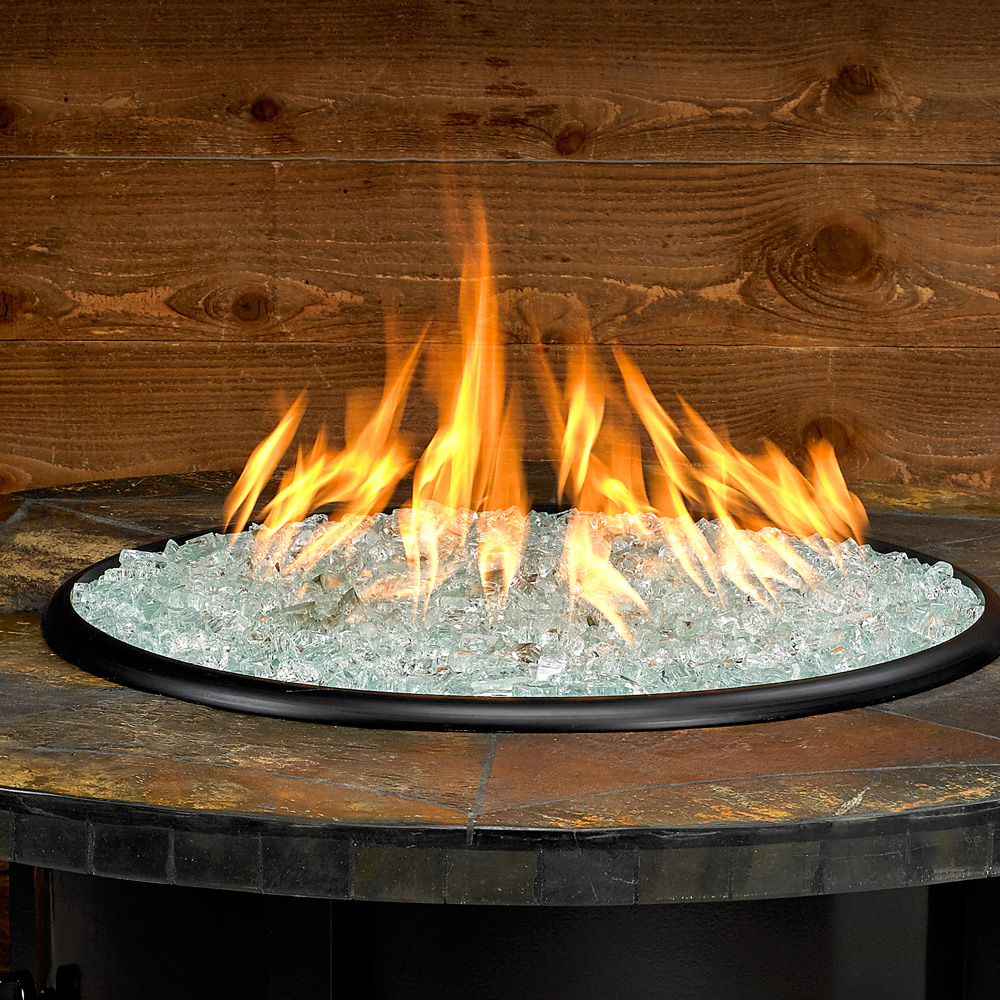 Carmel Series Outdoor Gas Fire Pit Table By American Fire Products, Round, 48-inch, Rusty Slate Mosaic Top