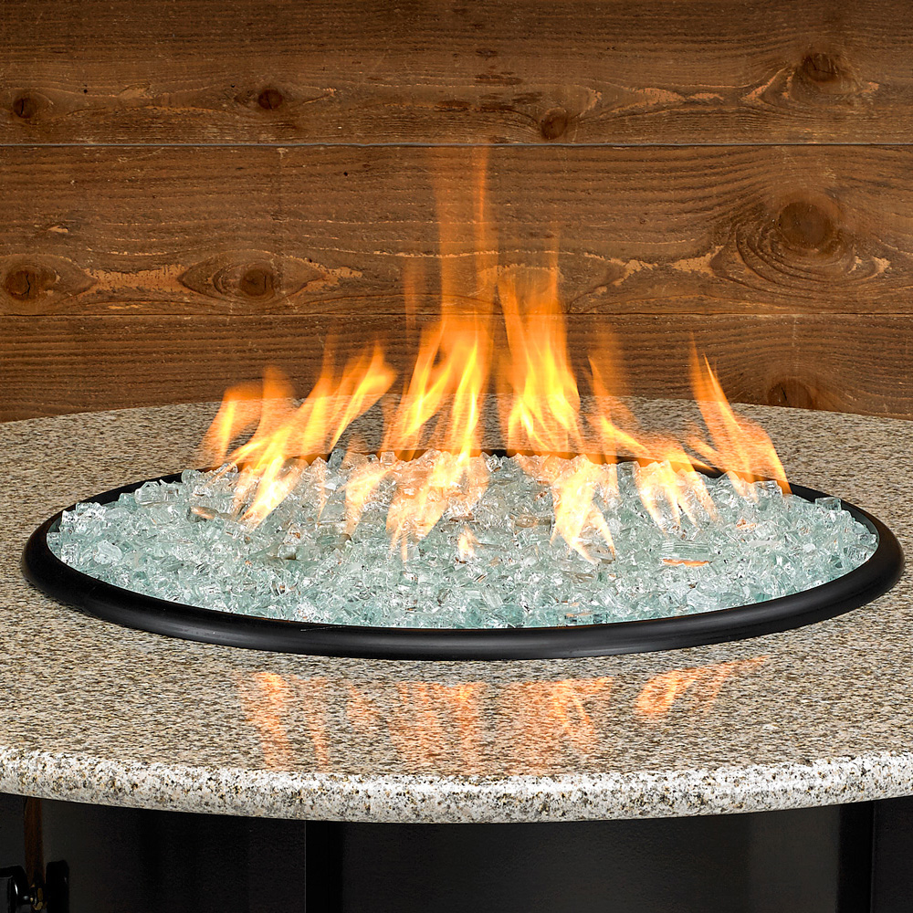 Carmel Series Outdoor Gas Fire Pit Table By American Fire Products, Round, 48-inch, Sunset Gold Granite Top