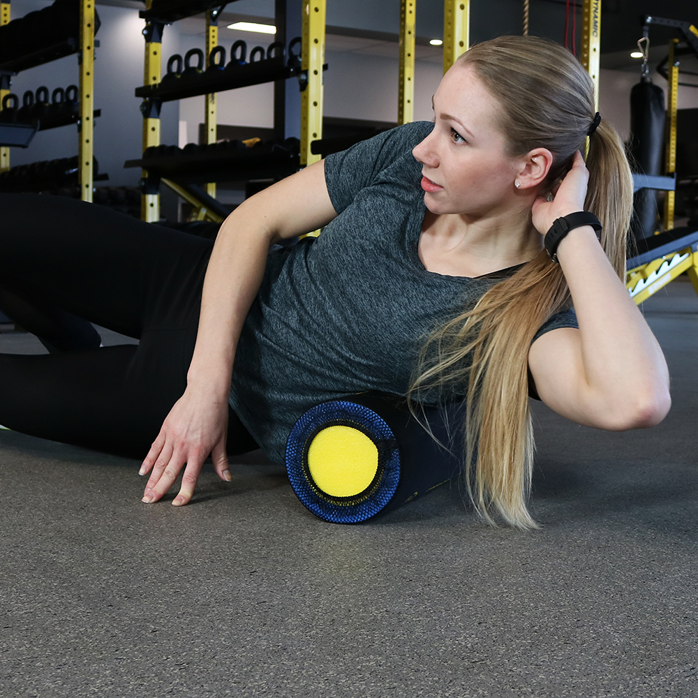 Casl Brands High Density Foam Roller With 9 Printed Instructional Exercises For Deep Tissue Muscle Massage, 18 Inch - Perfect For Physical Therapy Or Workouts