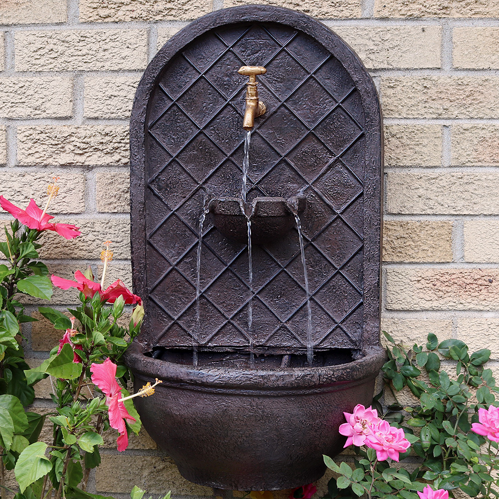 Sunnydaze Messina Solar Wall Fountain Iron Photo