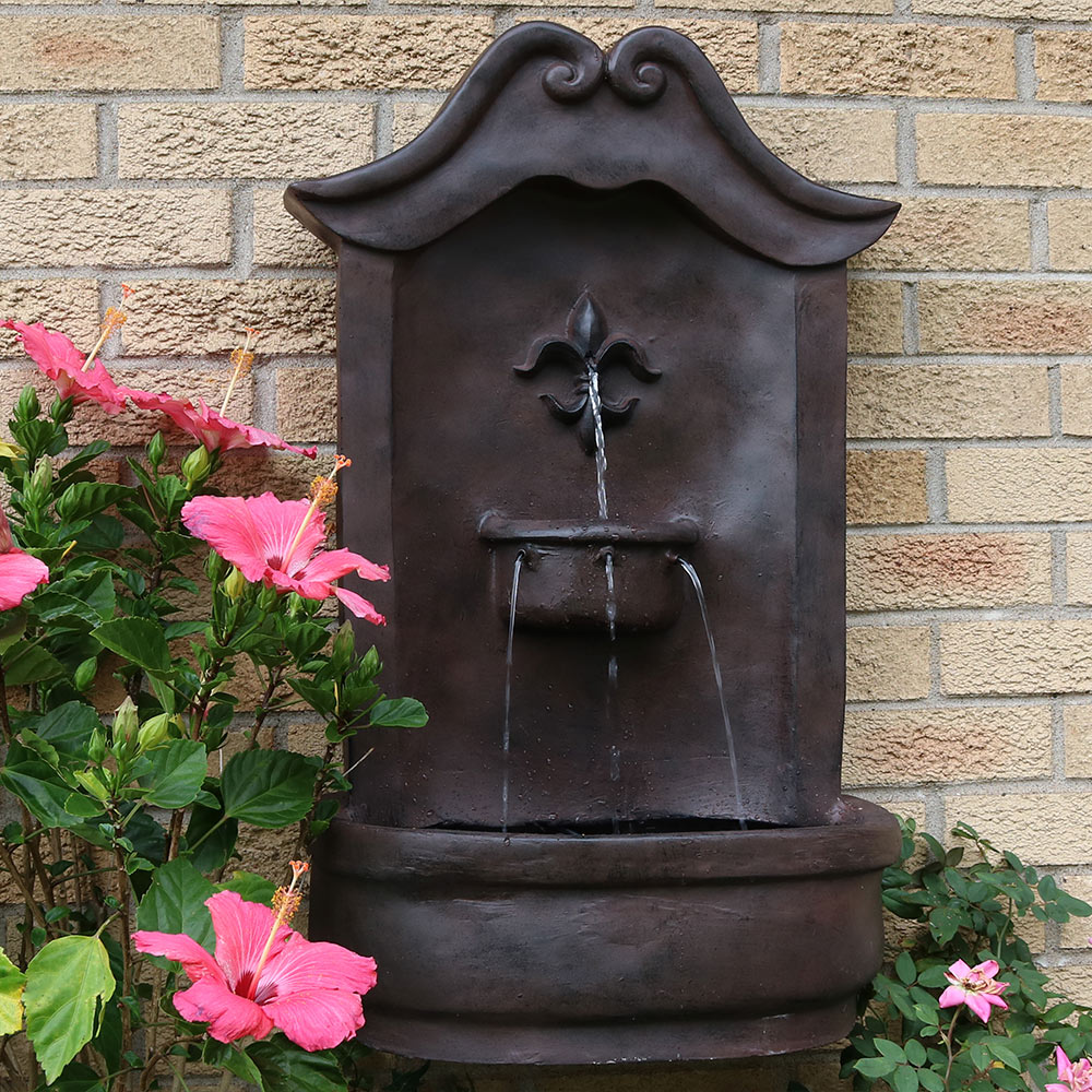 Sunnydaze Flower Of France Solar Wall Fountain Iron  Picture 278