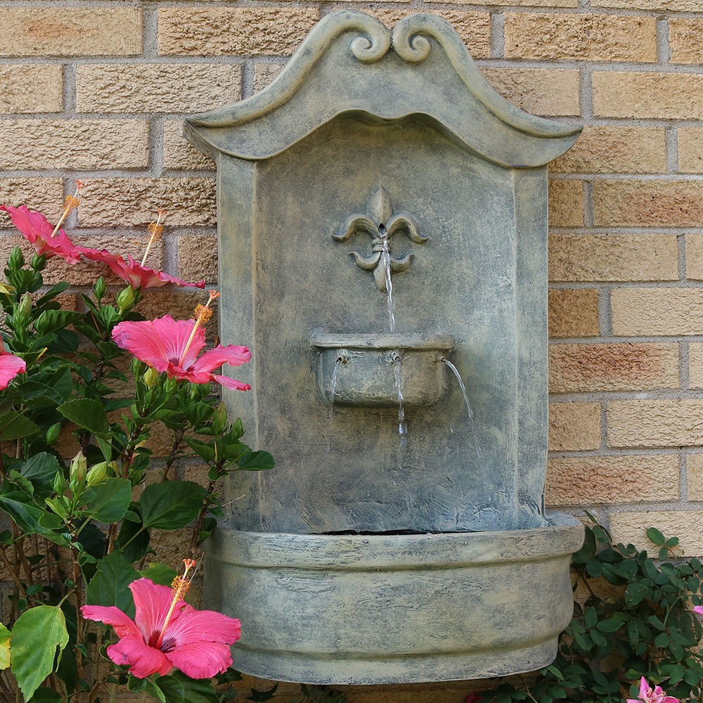 Sunnydaze Flower Of France Solar Wall Fountain French Limestone Photo