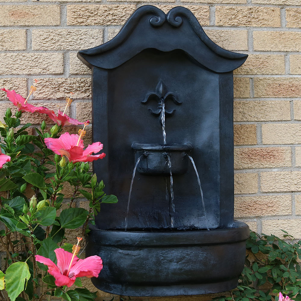 Sunnydaze Flower Of France Outdoor Wall Water Fountain Image 327