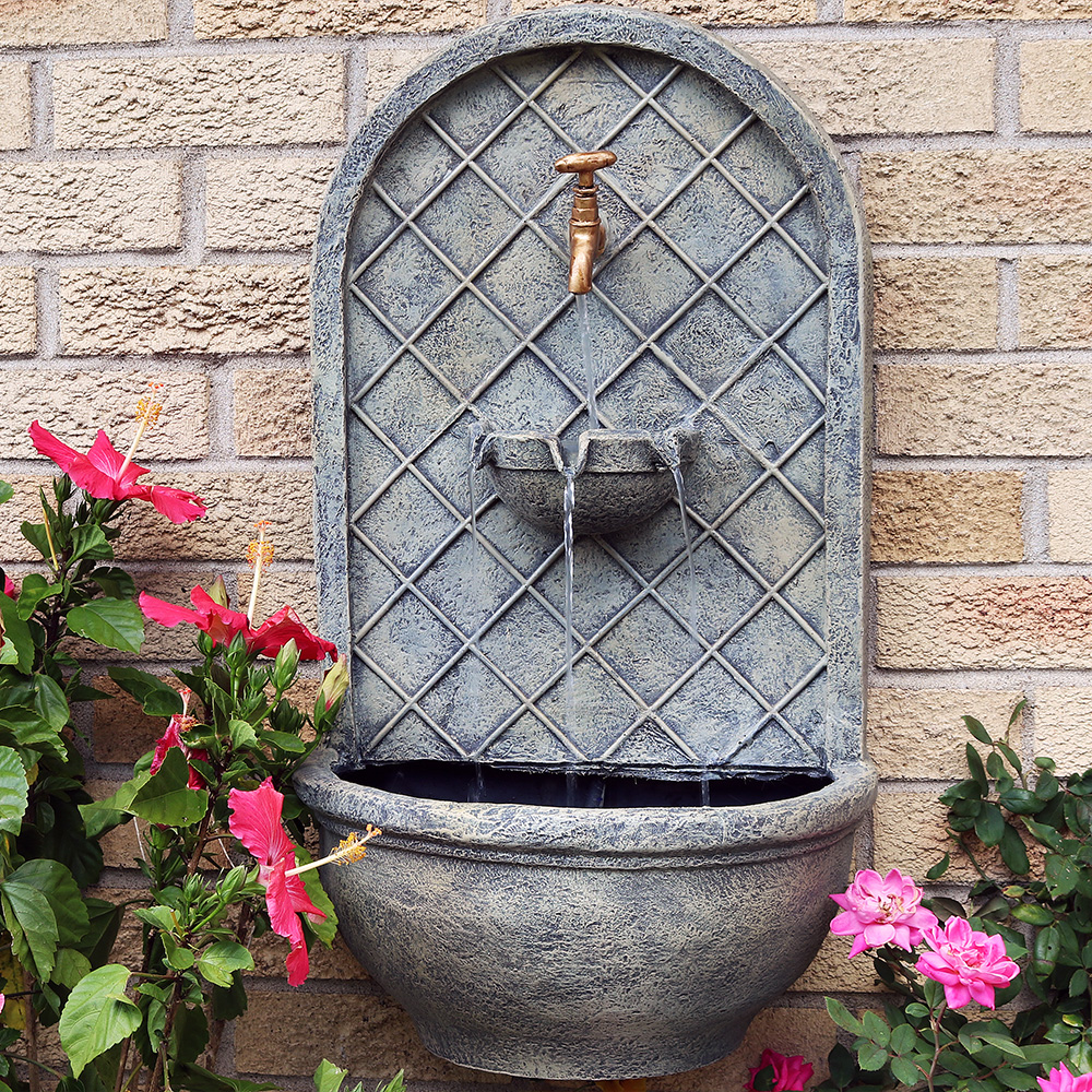 Sunnydaze Messina Solar Wall Fountain French Limestone Picture 368