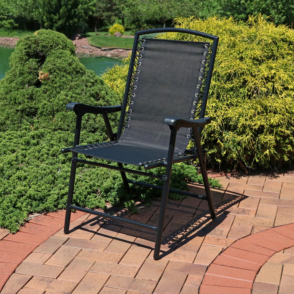 Sunnydaze Mesh Outdoor Suspension Folding Patio Lounge Chair Perfect Backyard Sporting Image 471