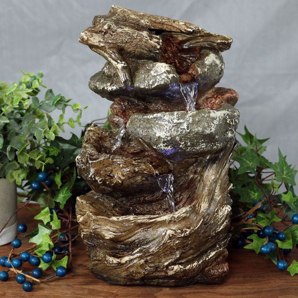 Sunnydaze Tiered Rock Log Tabletop Fountain Image 82