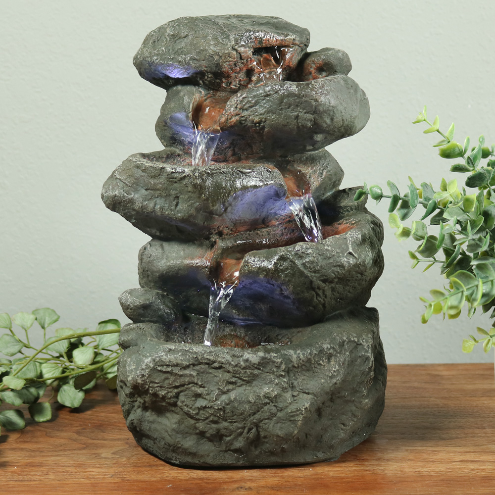Sunnydaze Stacked Rocks Tabletop Water Fountain Picture 976