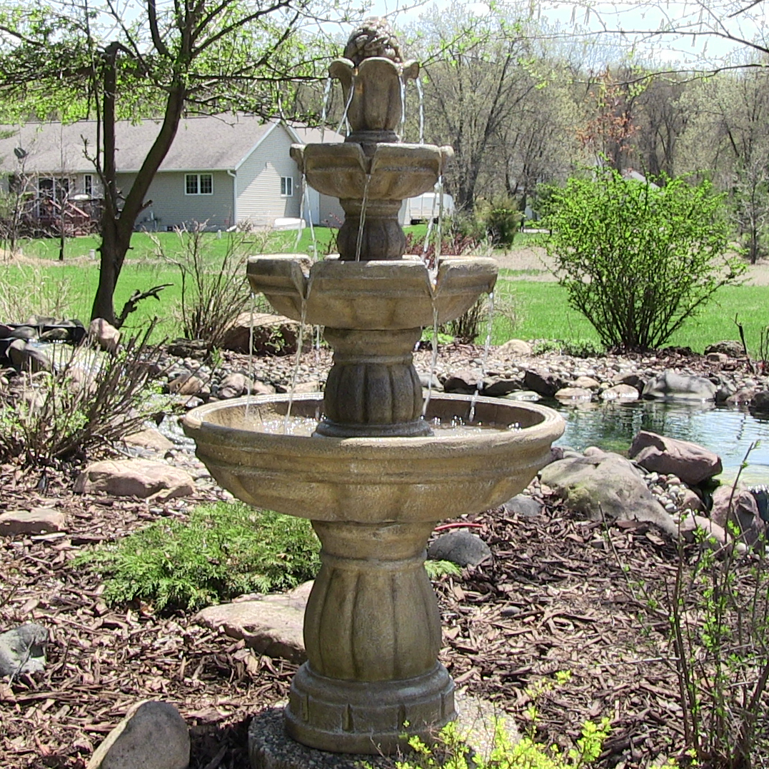 Sunnydaze Three Tier Outdoor Water Fountain Includes Electric Submersible Pump Tall Image 141