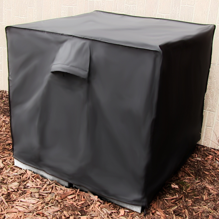 34-Inch Sunnydaze Square Black Outdoor Protective Air Conditioner Cover