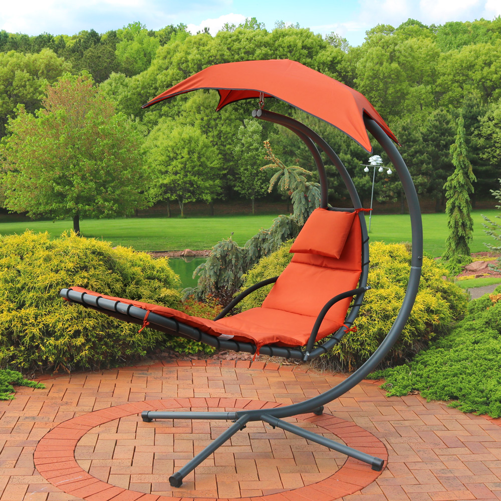Sunnydaze Burnt Floating Chaise Lounger Swing Chair Picture 342