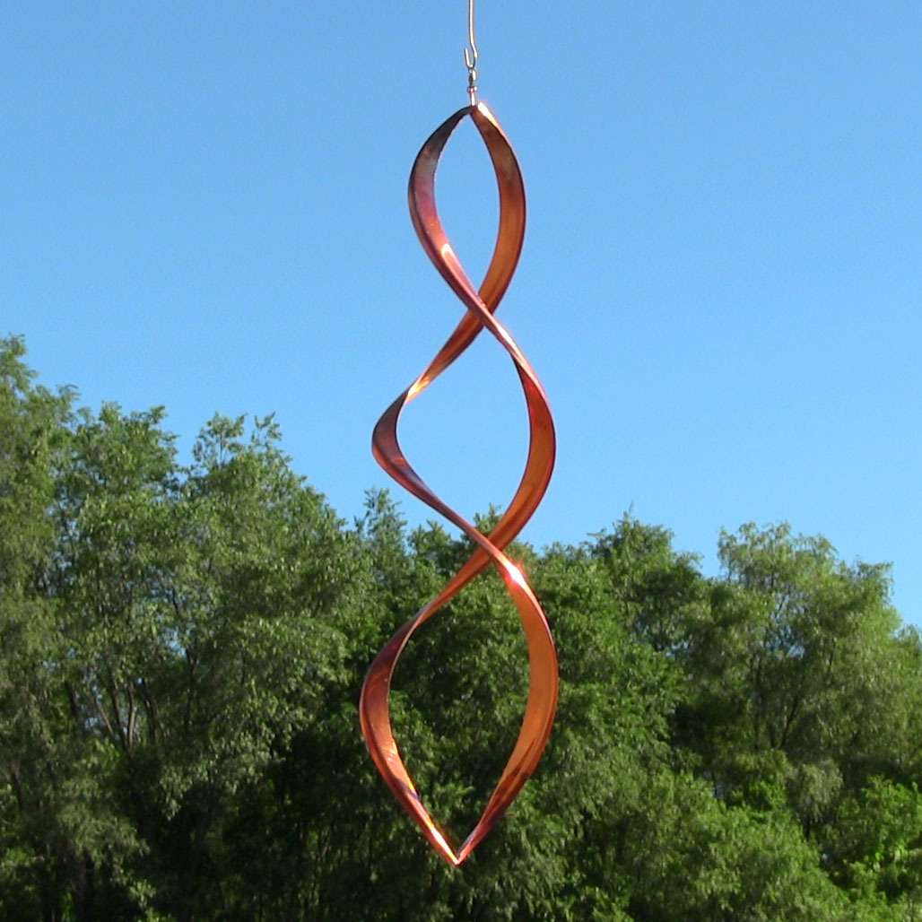Gemini copper wind spinner garden decor kinetic lawn for Outdoor wind spinners