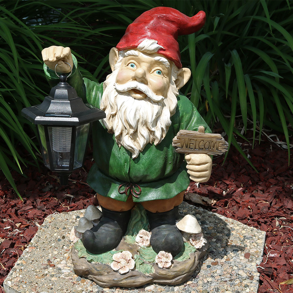 Sunnydaze Frankie Jr The Solar Led Lantern Welcome Gnome Image 223
