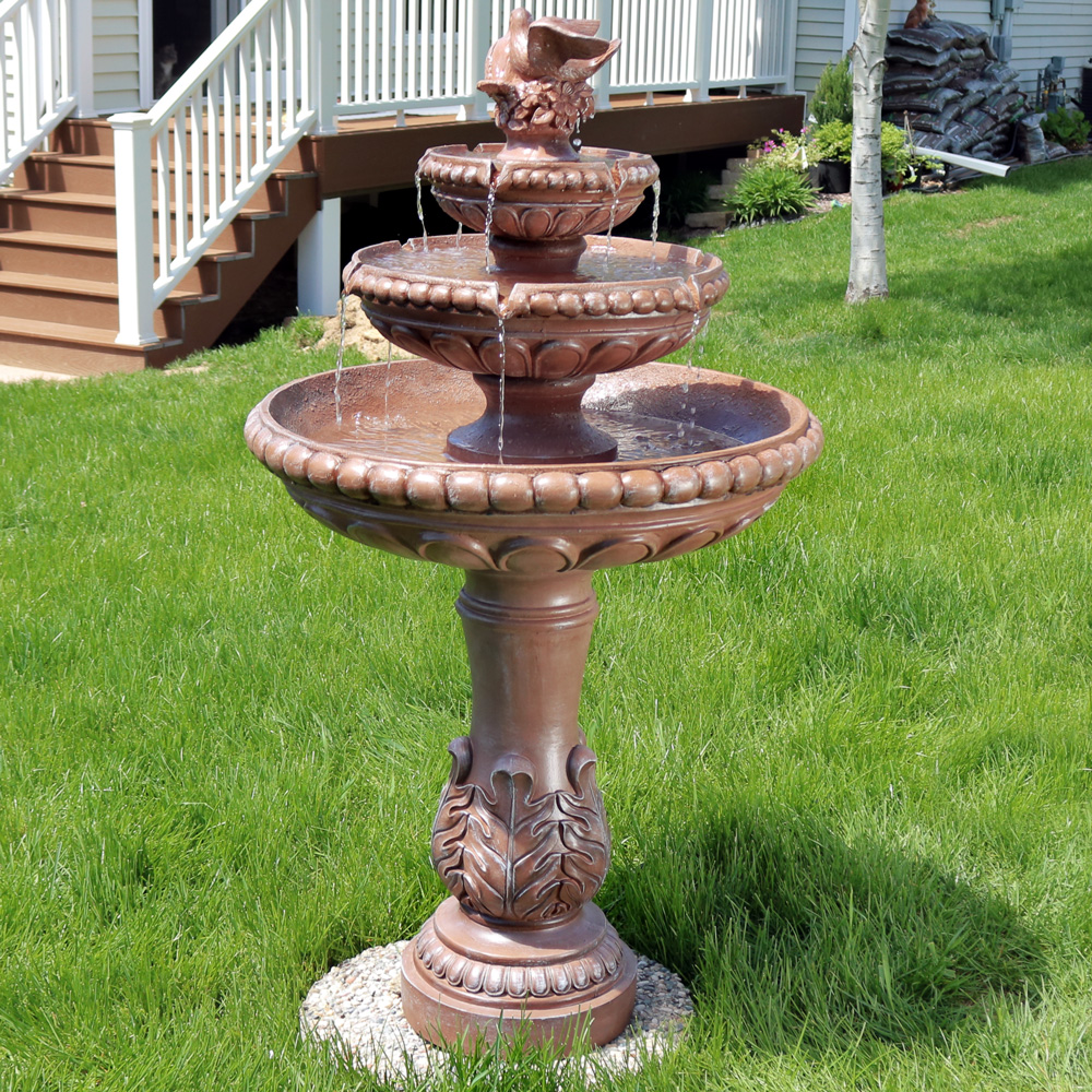Sunnydaze Tier Dove Pair Outdoor Water Fountain Perfect Patio Or Yard Submersible Elec Picture 213