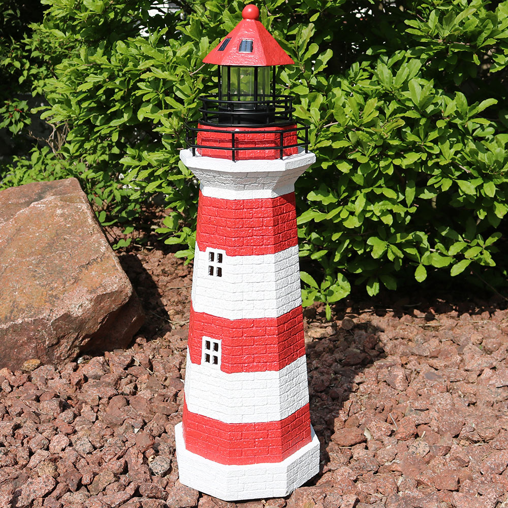 Sunnydaze Horizontal Stripe Solar Led Lighthouse Outdoor Decor Image 573