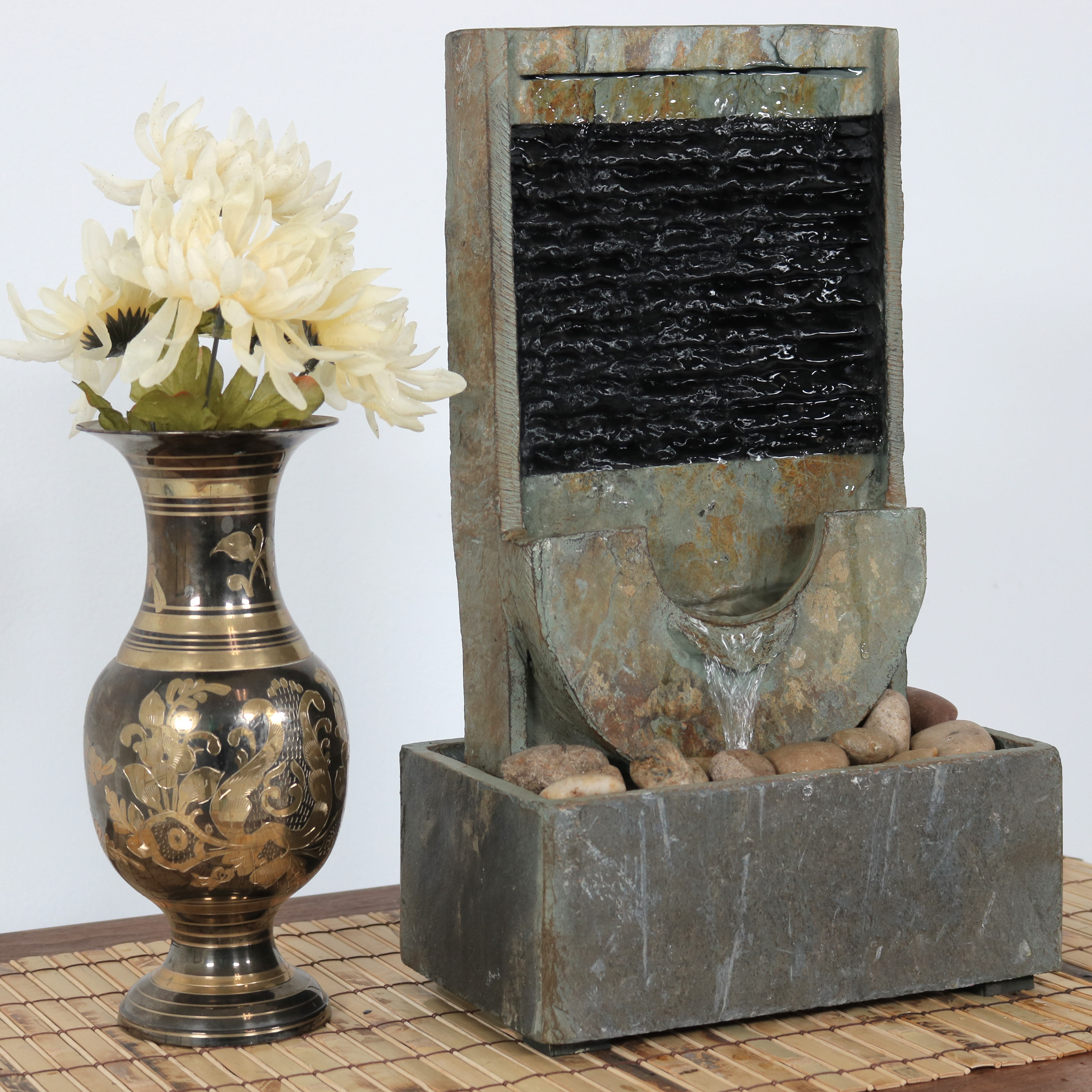 Sunnydaze Half Moon Slate Indoor Tabletop Water Fountain Picture 681