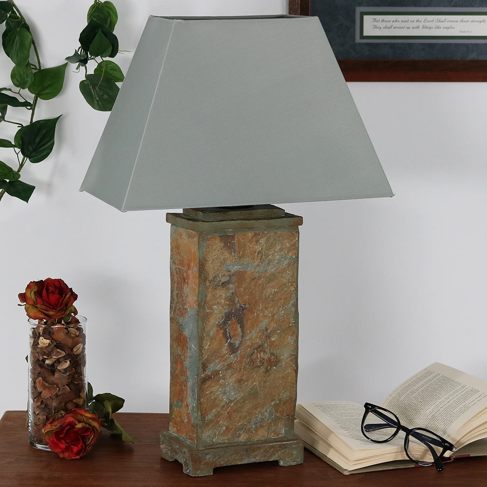 Sunnydaze Indoor Outdoor Natural Slate Table Lamp Image 98