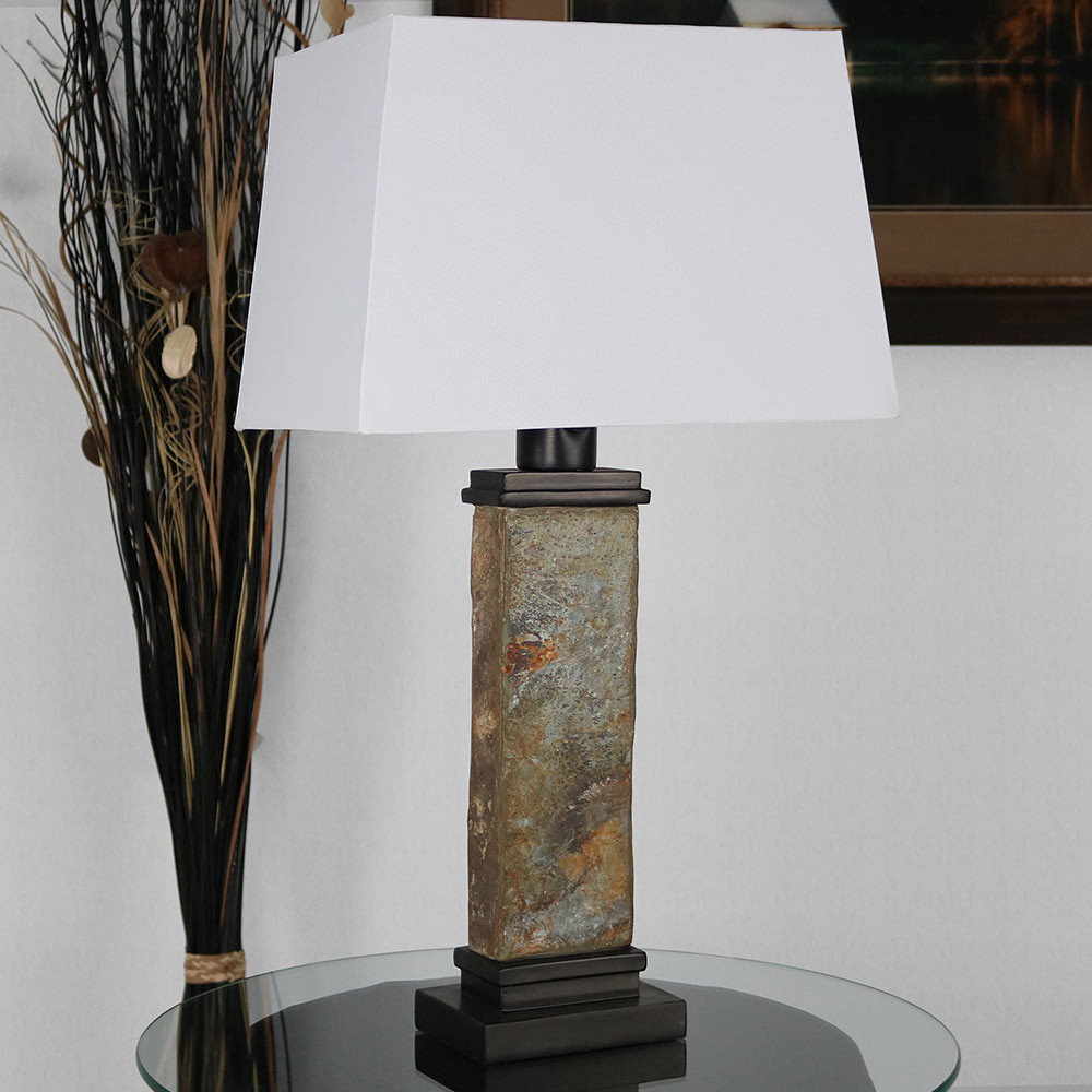 Sunnydaze Indoor Outdoor Thin Natural Slate Table Lamp Image 873