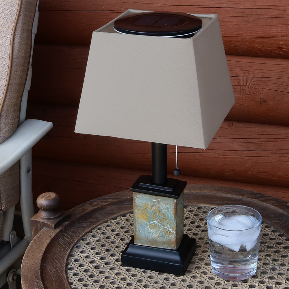 Sunnydaze Outdoor Small Square Slate Solar Table Lamp Image 855