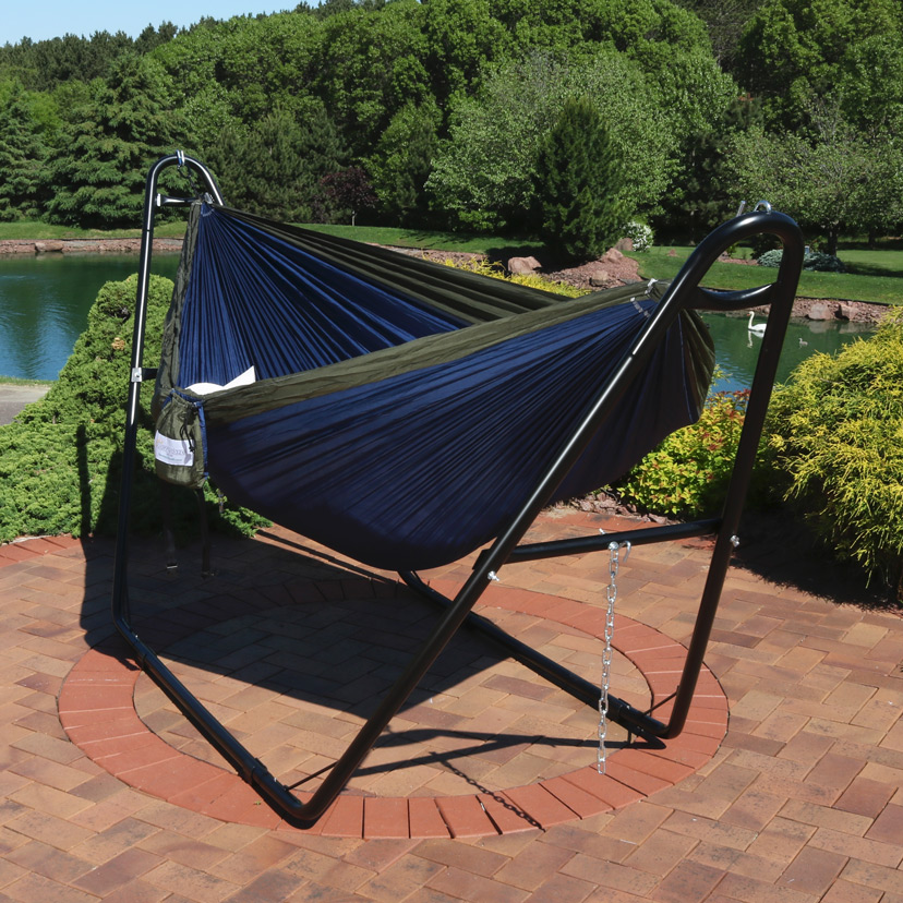 Sunnydaze Double Nylon Parachute Hammock Includes Carabiners Person Multi Use Steel Hammoc Image 168
