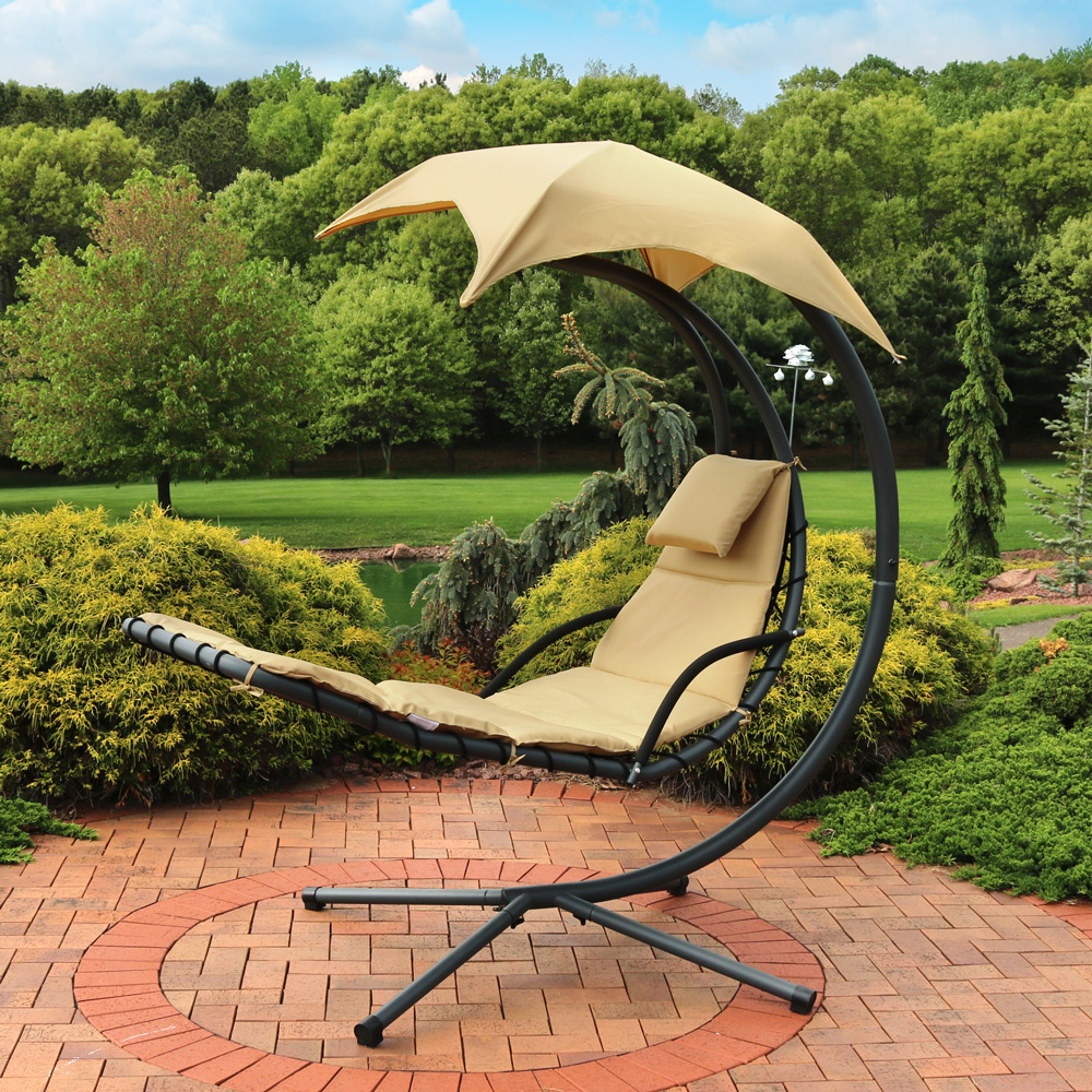 Sunnydaze Beige Floating Chaise Lounger Swing Chair Picture 342