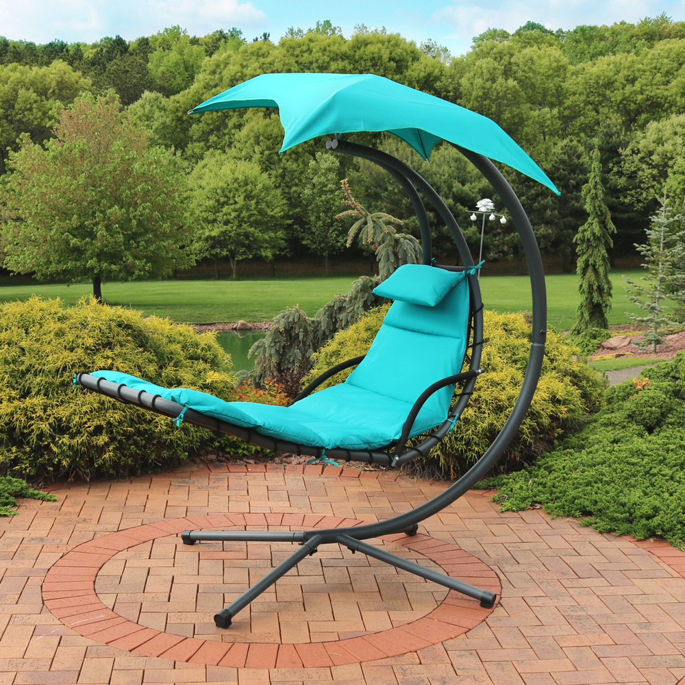 Sunnydaze Teal Floating Chaise Lounger Swing Chair Image 956