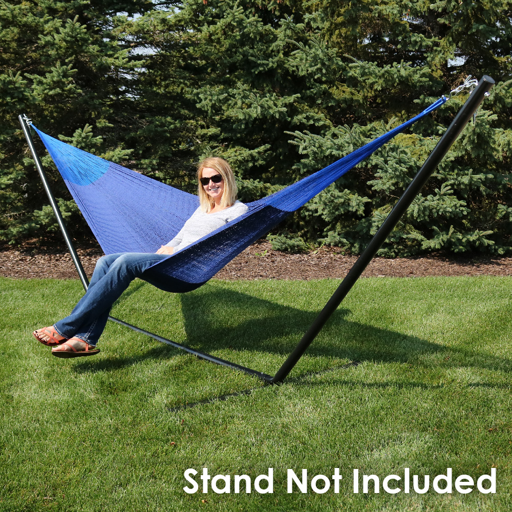 Sunnydaze Portable Hand Woven Person Mayan Hammock Double Size Blue Pound Capacity Picture 907