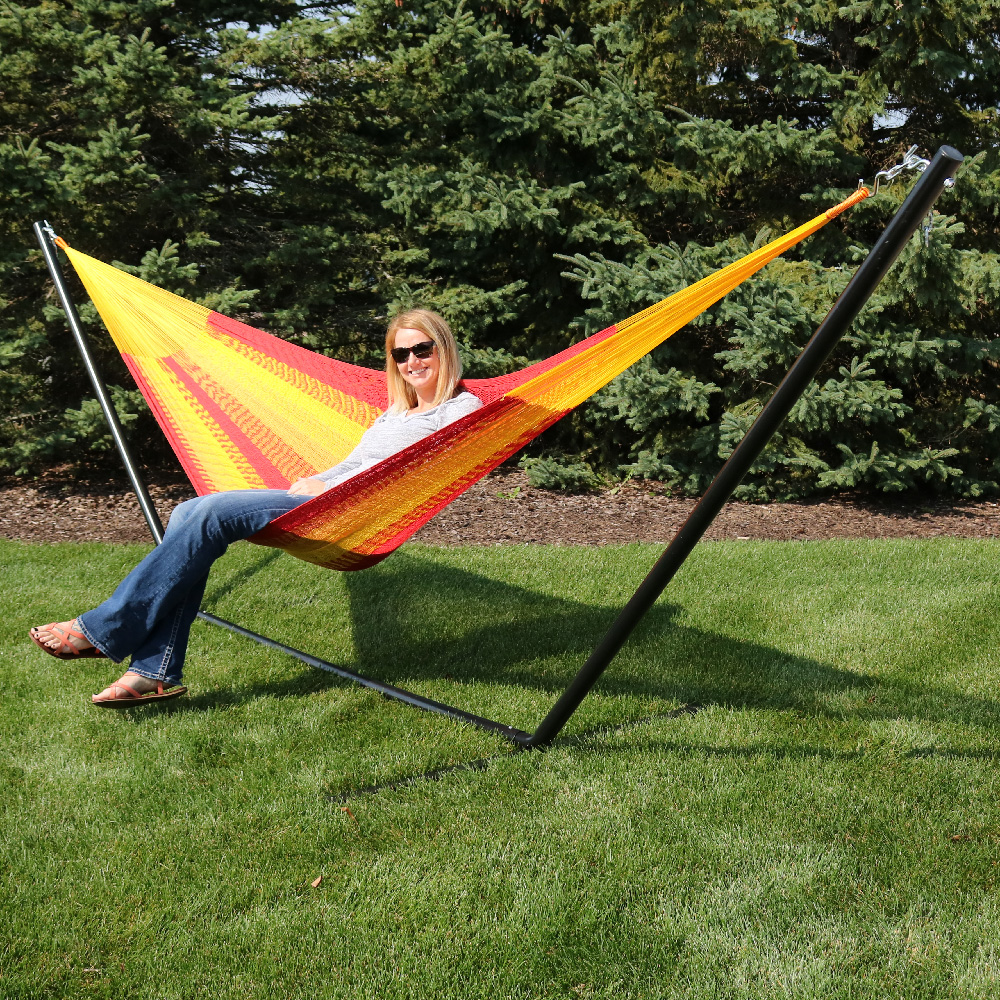 Sunnydaze Portable Hand Woven Person Mayan Hammock Double Size Tequila Pound Capacity Picture 912