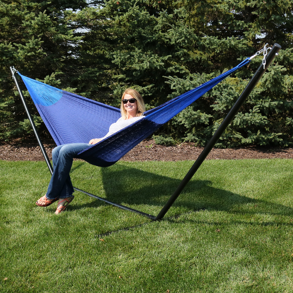 Sunnydaze Portable Hand Woven Person Mayan Hammock Family Size Blue Pound Capacity Photo