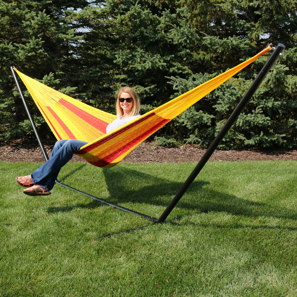 Sunnydaze Portable Hand Woven Person Mayan Hammock Family Size Tequila Pound Capacity Image 388