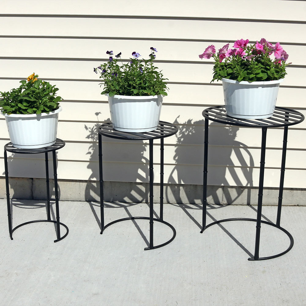 Sunnydaze Modern Indoor Outdoor Nesting Plant Stands Includes Small Medium Large Stand Photo