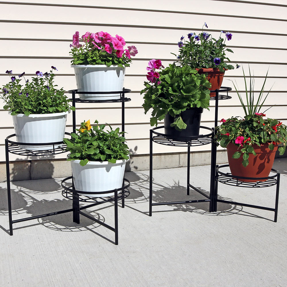 Sunnydaze Three Tiered Indoor Outdoor Plant Stand Two Image 671