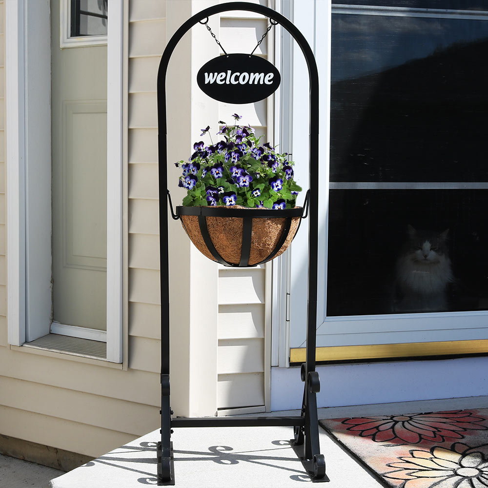 Sunnydaze Outdoor Hanging Basket Planter Stand Image 293
