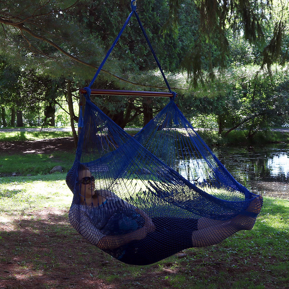 Sunnydaze Hanging Cabo Extra Large Hammock Chair Wide Spreader Bar Ma Weight Pounds Blue Image 944