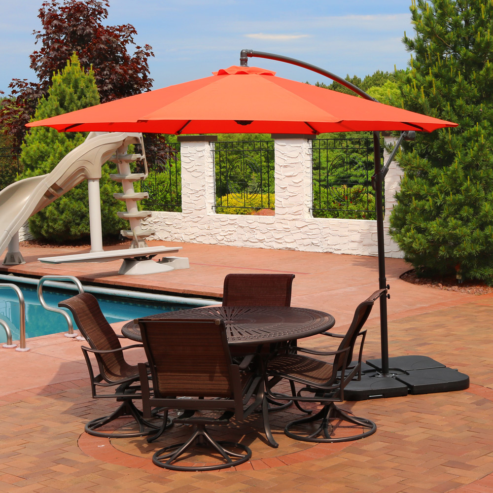 Sunnydaze Steel Foot Offset Patio Umbrella Picture 629