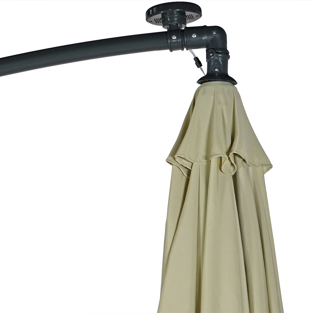 Solar Lighted Umbrella Patio 9 Deluxe Solar Powered Led