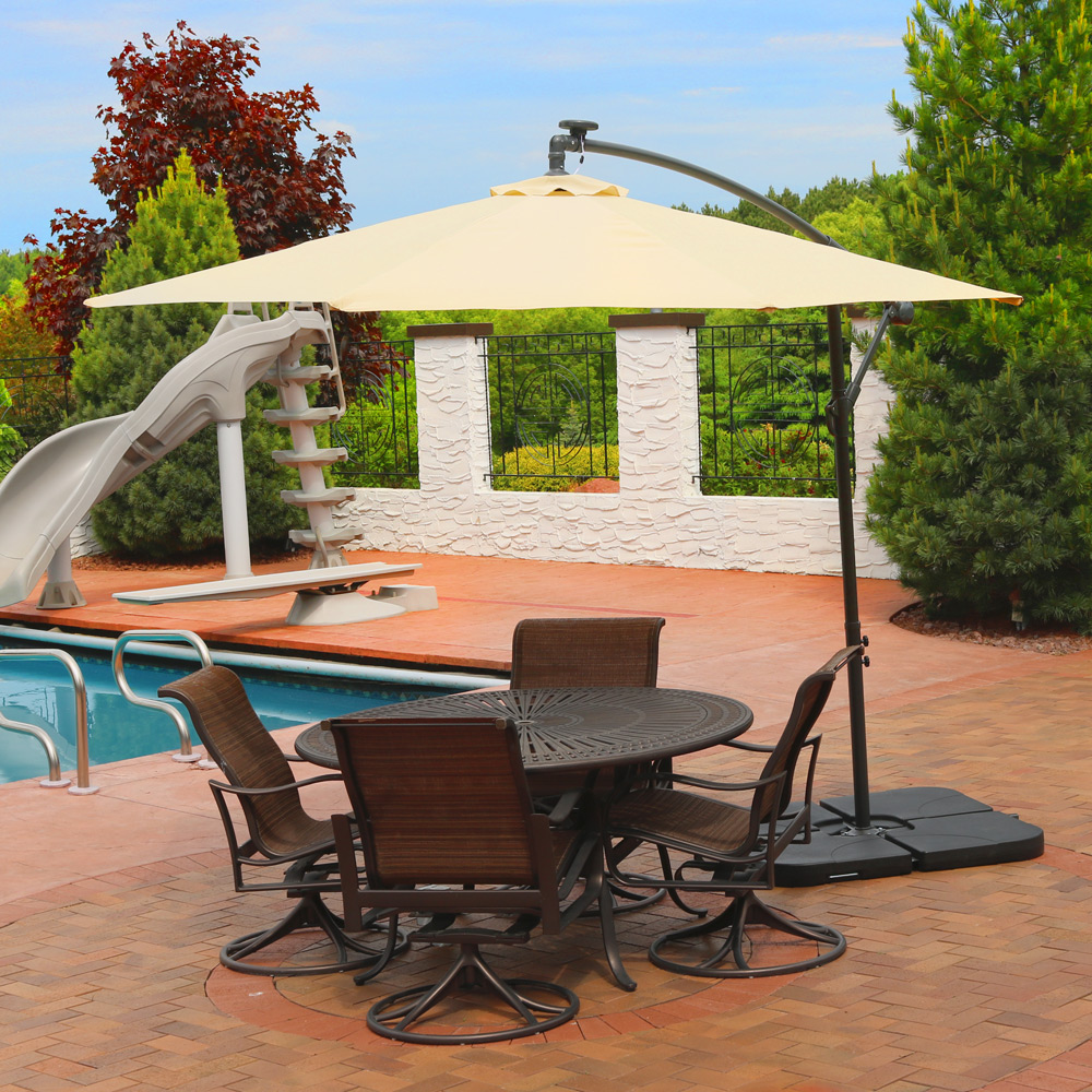Great Sunnydaze Steel Offset Solar Patio Umbrella W Cantilever