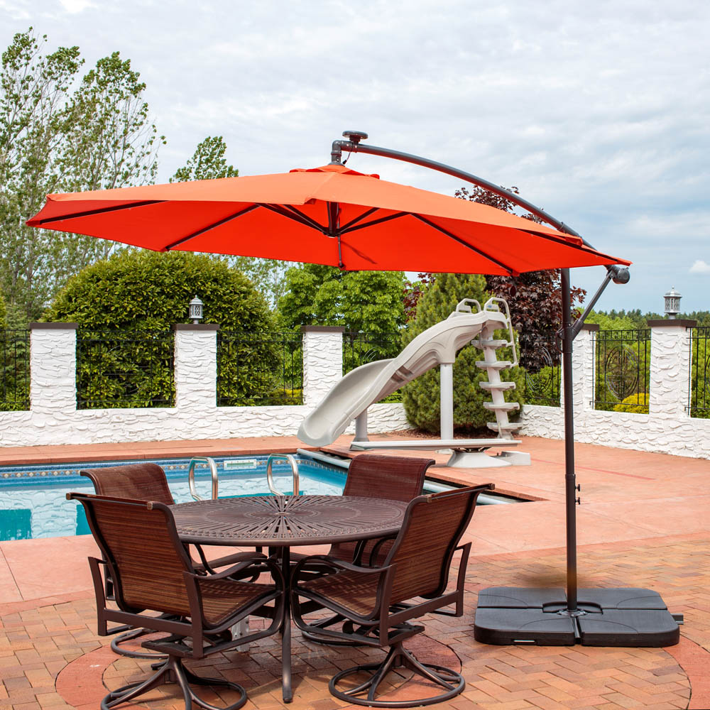 Sunnydaze Steel Foot Offset Solar Led Patio Umbrella Picture 560