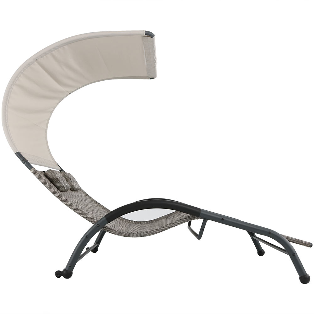 Outdoor double chaise lounger sunbed patio w canopy and for Chaise lounge canopy