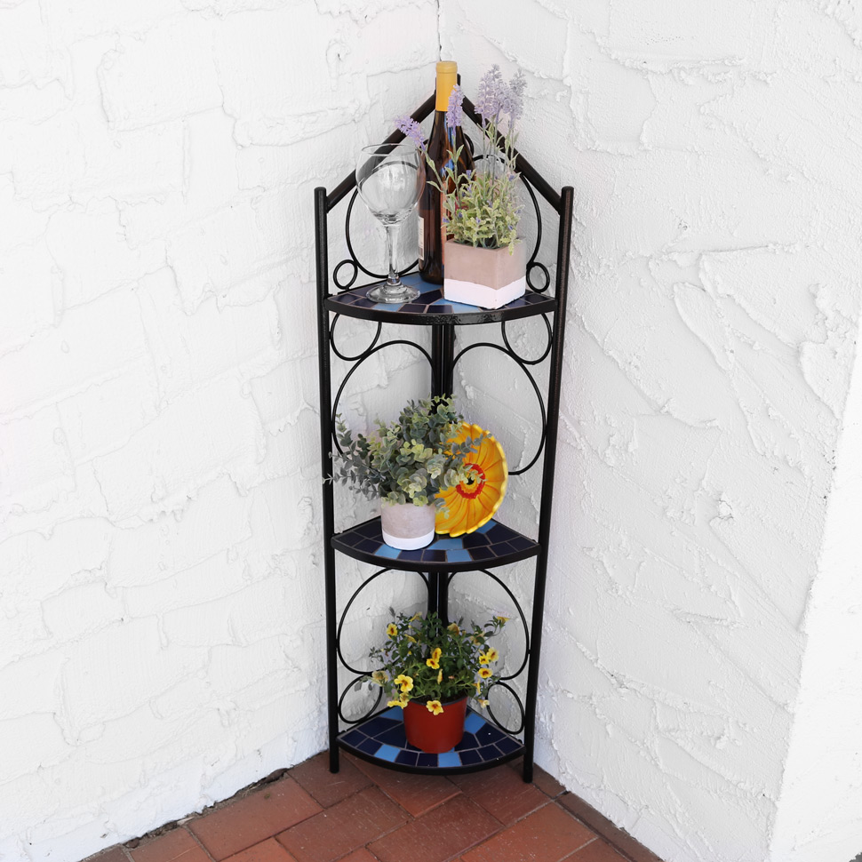 Sunnydaze Tier Blue Mosaic Tiled Indoor Outdoor Corner Display Shelf Plants Decor Image 326
