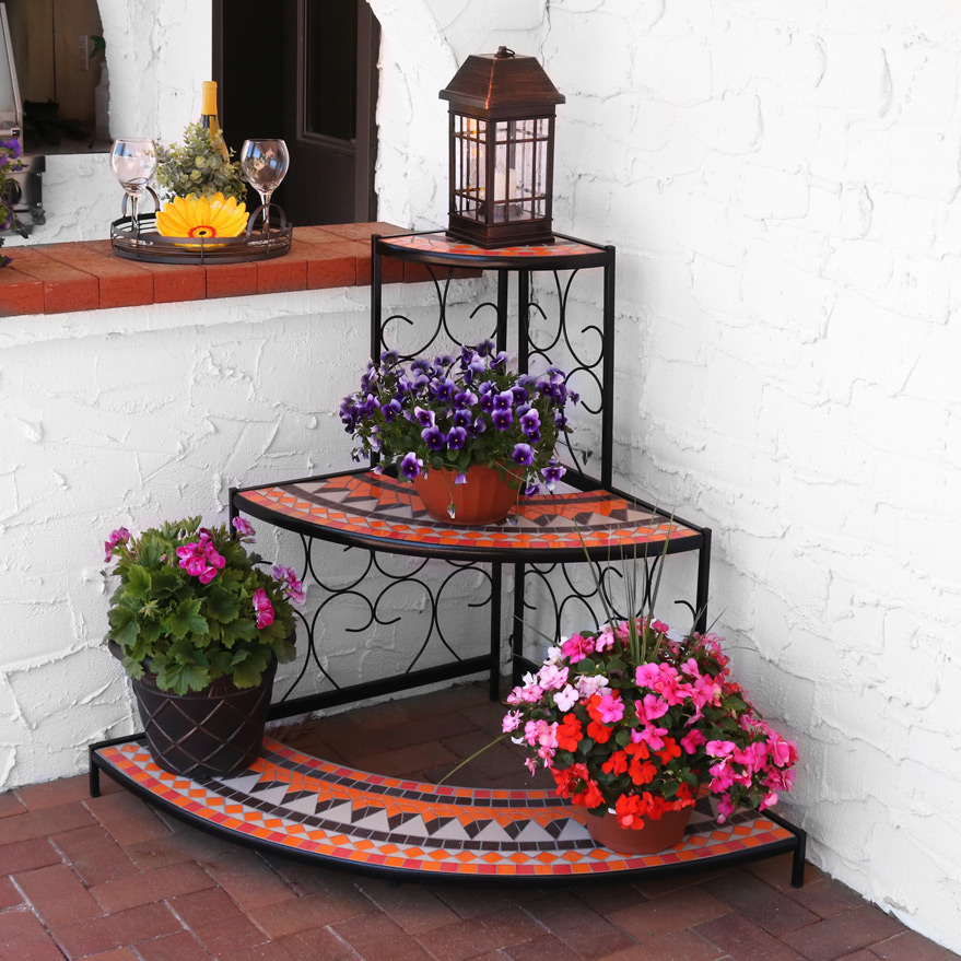 Sunnydaze Tier Step Style Mosaic Tiled Indoor Outdoor Corner Display Shelf Plants Deco Photo