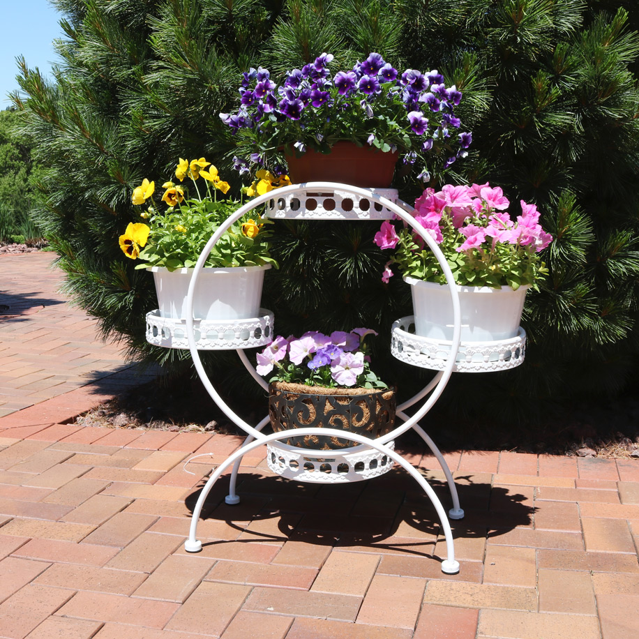 Sunnydaze Tier Ferris Wheel Indoor Outdoor Plant Flower Stand Picture 836