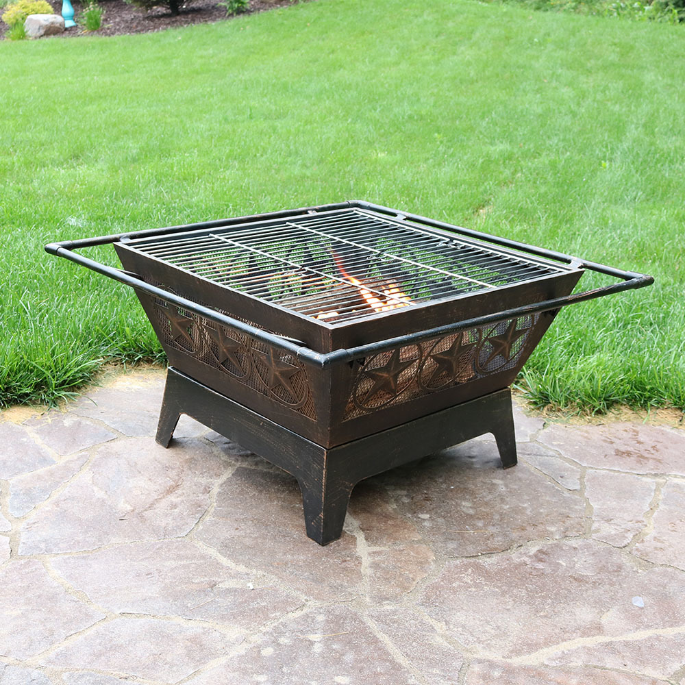 Ordered my fire pit after reading about 30 some reviews! I haven't used it yet, as it was shipped without the pegs that hold up the cover/grate.