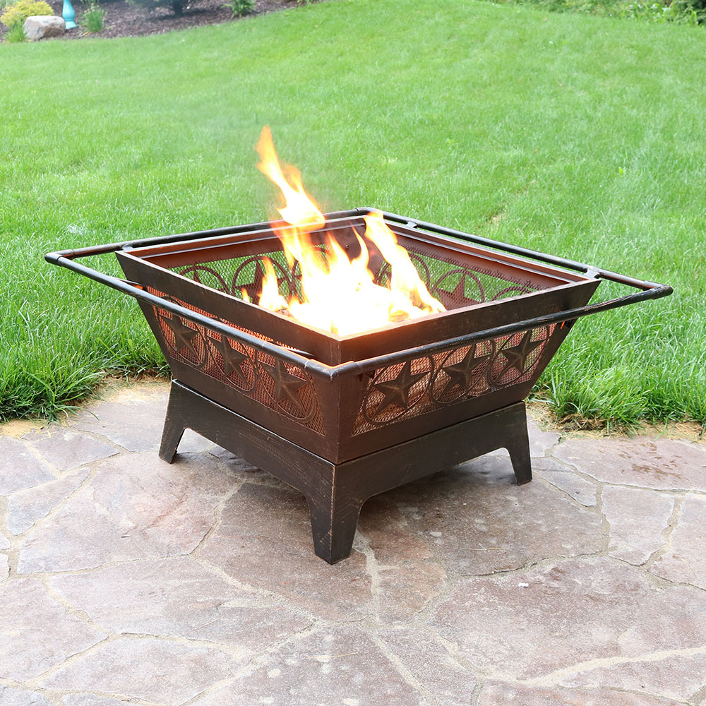 Backyard Patios With Fire Pits: Northern Galaxy Square Fire Pit 32in Wood Burning Outdoor