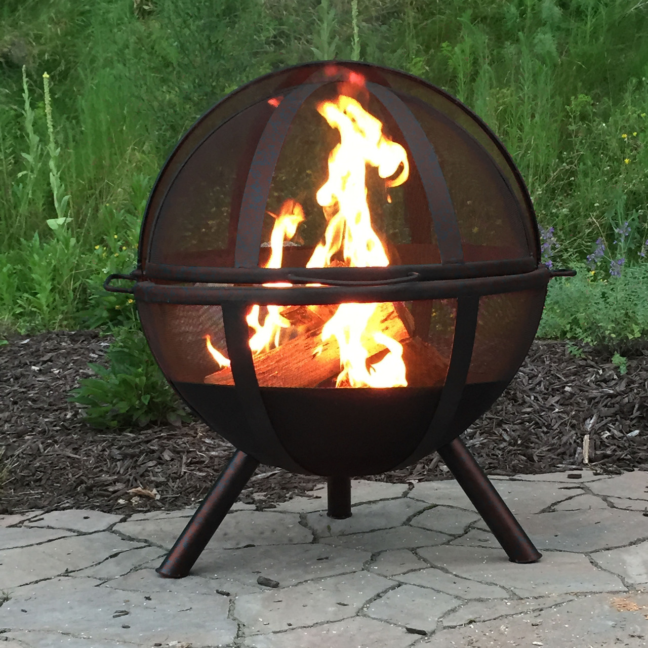 Flaming Ball Fire Pit Durable Steel Portable Wood