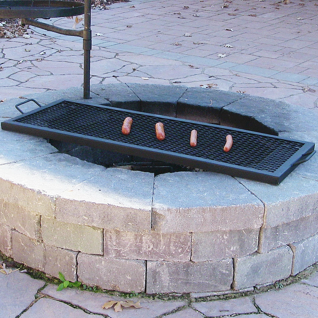 Sunnydaze Marks Rectangle Fire Pit Cooking Grill Image 491