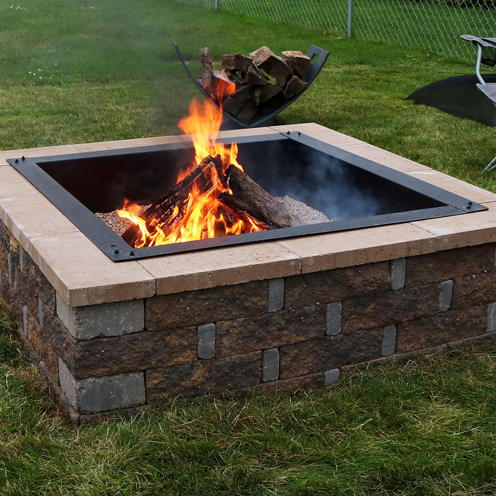 Sunnydaze Square Heavy Duty Fire Pit Rim Liner Diy Fire Pit Above Or In Ground Mm Thicknes Image 279
