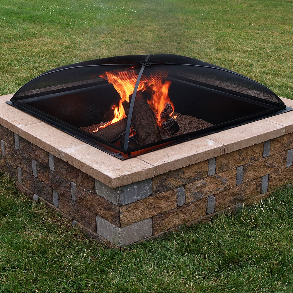 Sunnydaze Square Fire Pit Spark Screen Photo