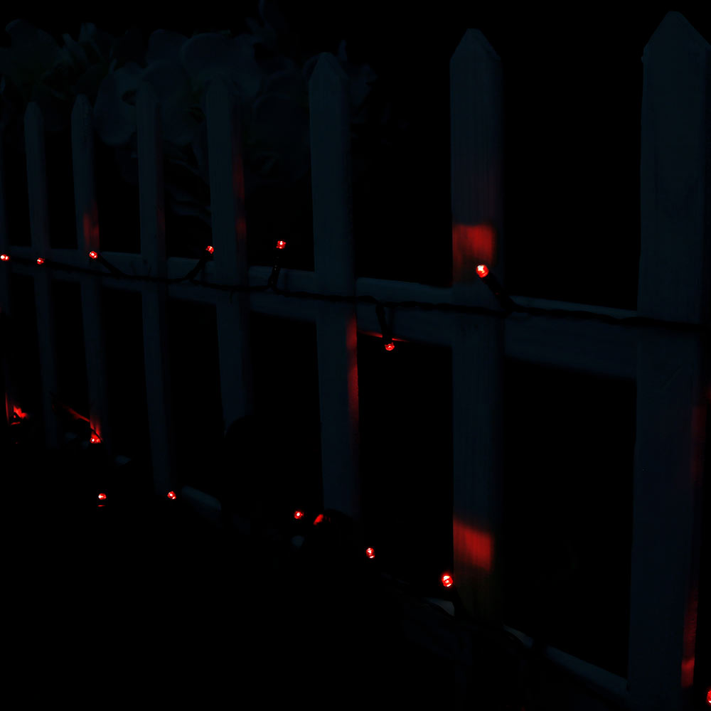 Sunnydaze 100-Count, 34 Foot Fairy Solar Powered LED String Lights, Red